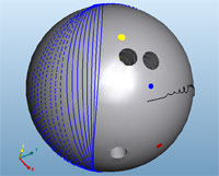 Drilled Bowling Ball With Ball Track